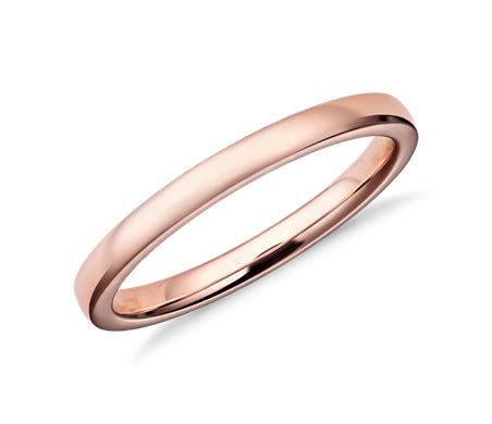 Low Dome Comfort Fit Wedding Ring in 14k Rose Gold (2mm
