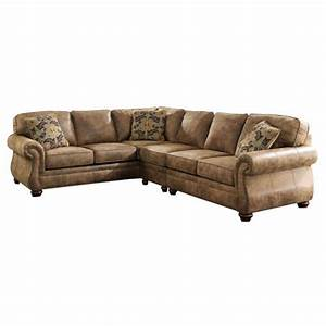 ashley larkinhurst 3 piece faux leather sectional in earth With faux leather sectional sofa ashley