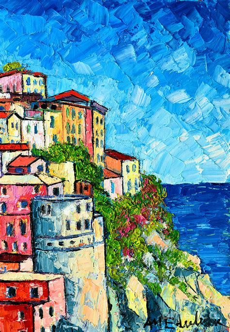 Cinque Terre Italy Manarola Painting Detail 3 Painting By