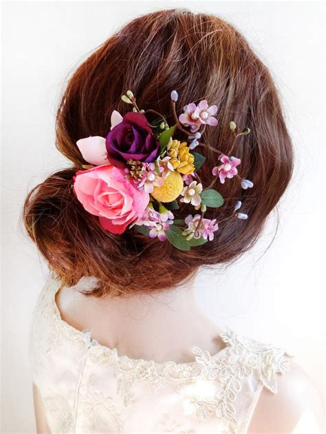 flower hair clip wedding floral hair comb pink flower