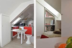 amenagement chambre sous comble 1 studio sous combles With carrelage adhesif salle de bain avec projecteur led puissant