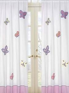 Kids butterfly window curtains panels pink purple set of for Purple butterfly curtains