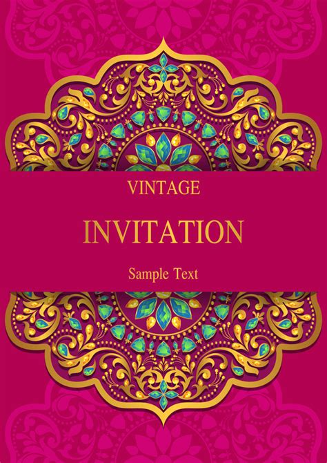 india styles vintage invitation card vector template