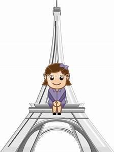 Sitting On Eiffel Tower - Cartoon Stock Image