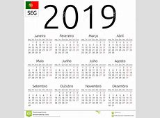Calendário 2019, Português, Segundafeira Ilustração do