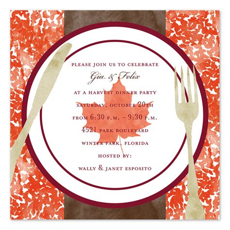 harvest dinner party invitations  invitation