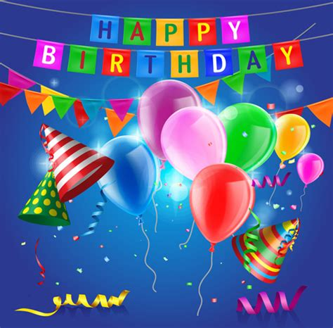 Confetti With Colored Balloons Birthday Background Free