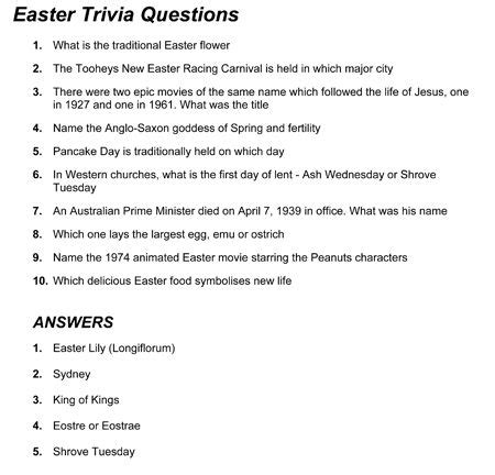 Fun Easter Trivia Can Add A New Layer To Easter Dinner This Year I Would Put One Question On