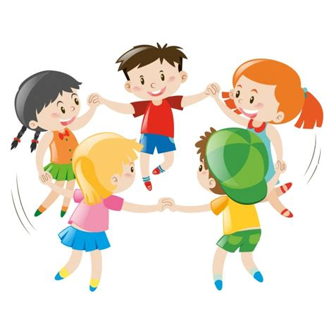 playing cartoon kids playing design vector free download