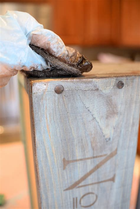 diy distressed blue wooden caddy living rich