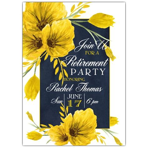vintage blue yellow floral retirement invitations paperstyle