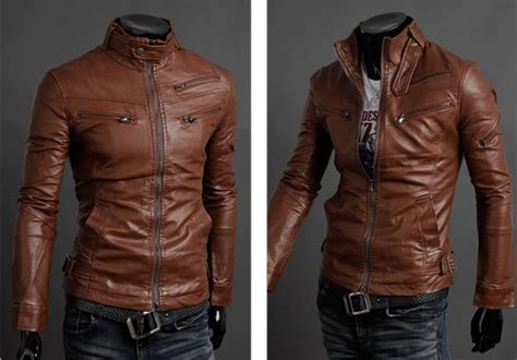New The Multi Zipper Men's Leather Jacket Standing Collar