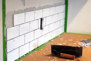 installing subway tile backsplash in kitchen kitchen makeover diy kitchen backsplash subway tile ruby redesign