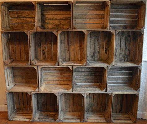 set of 3 rustic wooden apple crates
