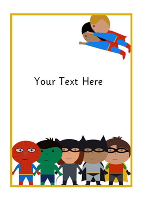superhero themed notepaper  early years primary