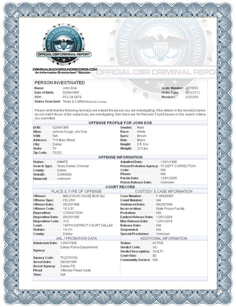 Check Criminal History Records What Does A Criminal Record Template Www Pixshark Images