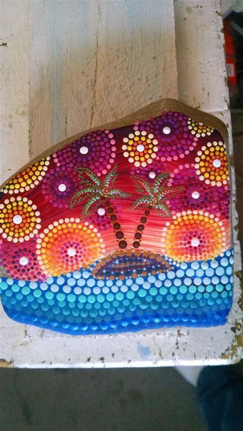 large beach stone hand painted dot art ocean por