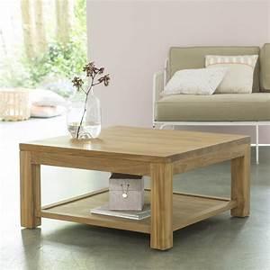 tikamoon eve teak coffee table 80x80 With table basse bois blanchi