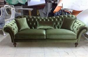 Chesterfield Sofa Green Fabric Classic Interior Design