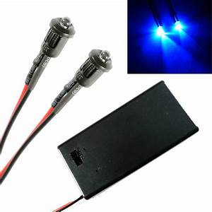 2x Police Flashing Blue Small 3mm Lights Rc Car Buggy