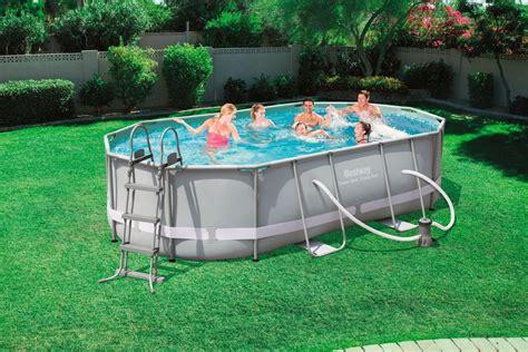 bestway pool oval bestway set 187 frame pool quot power steel quot 488x305x107 cm oval mit filterpumpe zubeh 246 r 171