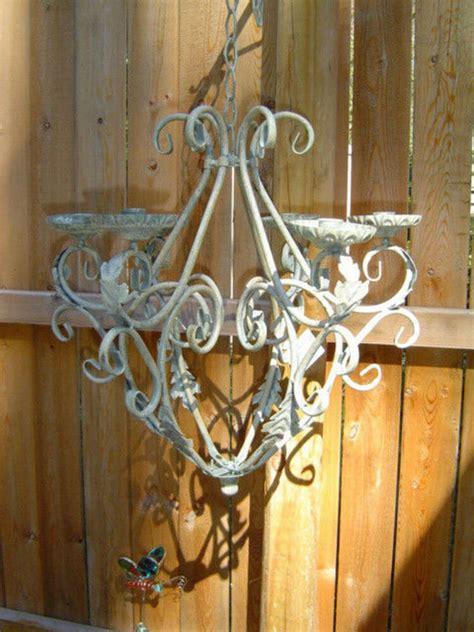 chandelier holder ivory distressed vintage iron scroll hanging chandelier