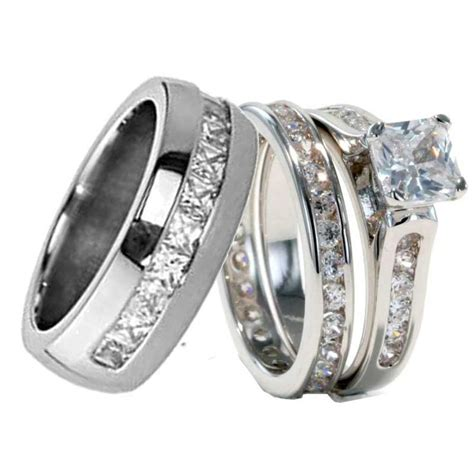 his and hers titanium wedding bands his hers 3 pcs mens