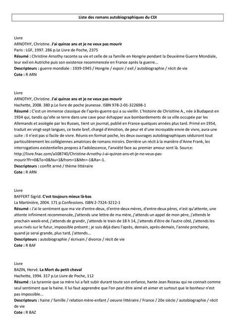 La Peste Resume Par Chapitre by Calam 233 O Liste Des Romans Autobiographiques Du Coll 232 Ge De L Ill