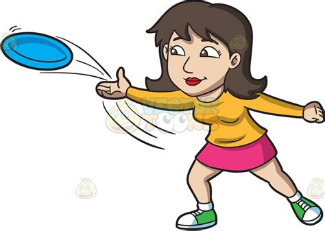 A Brunette Woman Throwing A Blue Frisbee Vector Clip Art