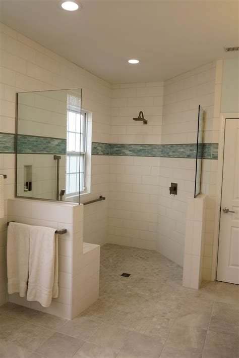 curbless shower stall complete   transfer seat