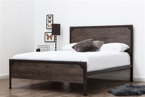 Size Wood Bed Frame by Marlow Rustic Metal Industrial Wood Panel Bed Frame