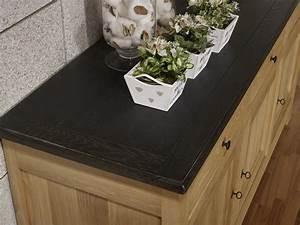 Buffet Bois Et Noir : buffet 3 portes yann en ch ne massif de style campagnard finition ch ne bross naturel plateau ~ Teatrodelosmanantiales.com Idées de Décoration