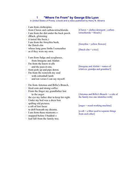 where i m from poem template where i m from by george ella lyon