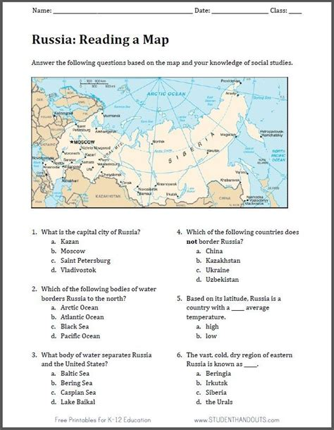 russia map worksheet free to print pdf file