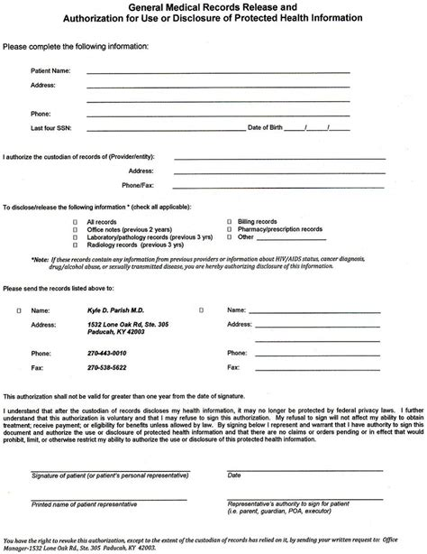 medical records release form template form medical records release form