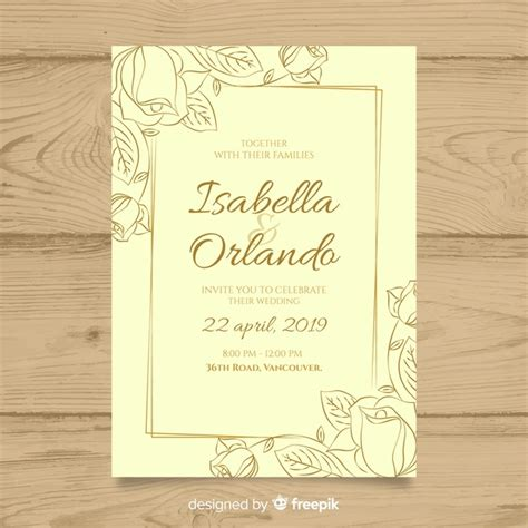 Elegant wedding invitation card template Vector Free