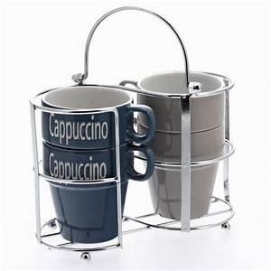 Support Tasse à Café : ensemble de 4 tasses empilables support m tal maison fut e ~ Teatrodelosmanantiales.com Idées de Décoration