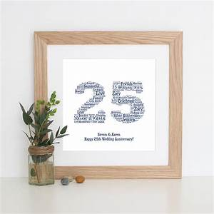 Personalised 39silver39 25th Wedding Anniversary Print By