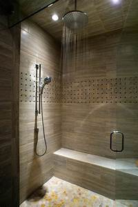 Folding, Shower, Bench, Bathroom, Contemporary, With, Leaded, Glass, Transitional, Towel, Bars