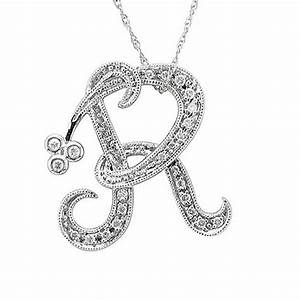 buy 14k white gold initial r black diamond pendant With letter r pendant jewelry