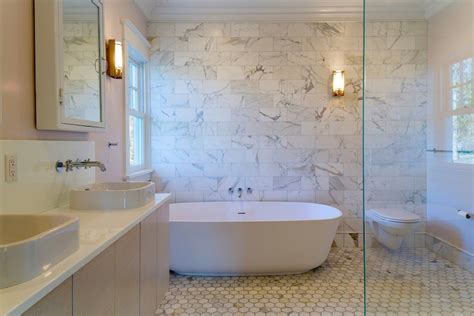 bathroom with marble accent wall transitional bathroom