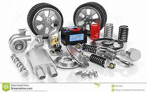 Various Car Parts And Accessories Stock Illustration