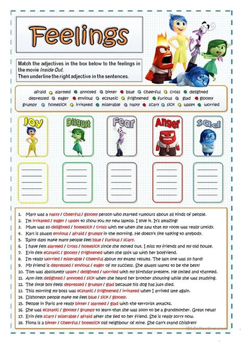 feelings  emotions worksheet  esl