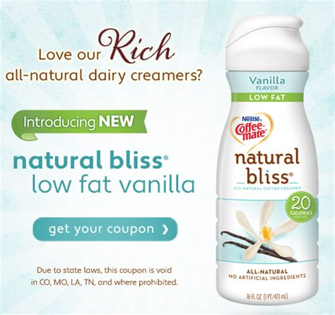 coffee mate natural bliss printable coupons