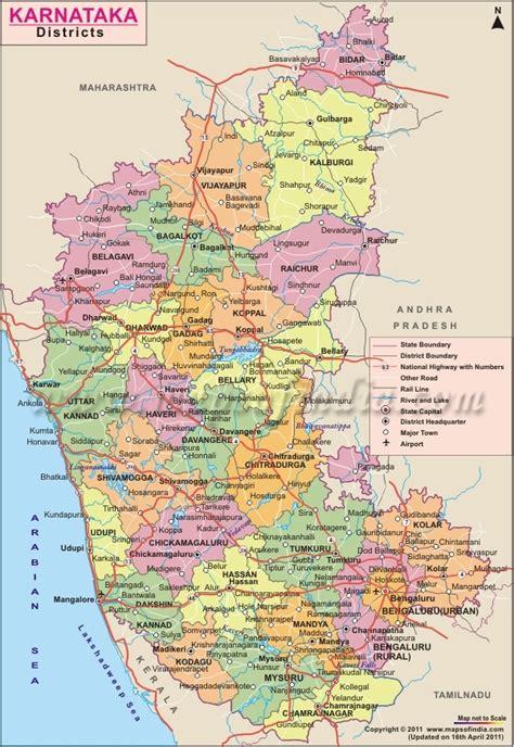 karnataka district map district maps pinterest