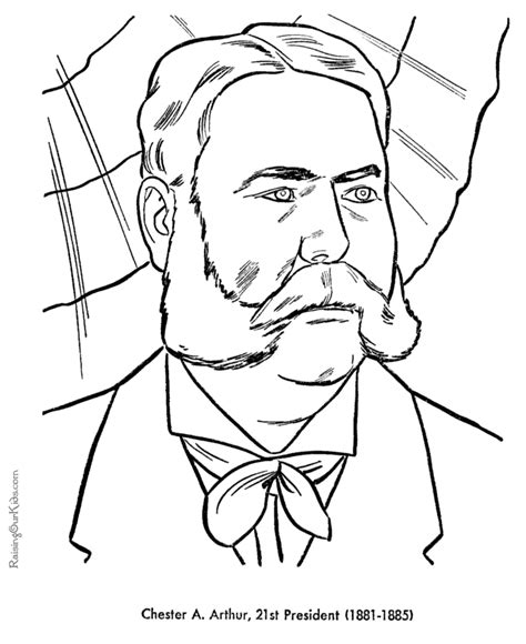 Presidents Coloring Pages by Free Printable President Chester A Arthur Coloring Pages