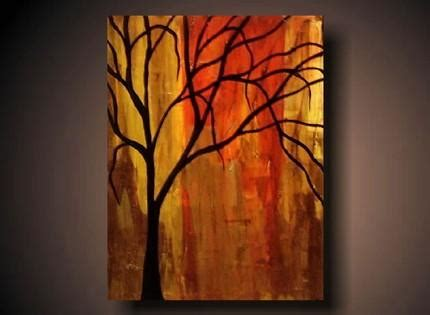 black tree  red background art
