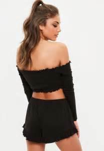 Black Bardot Crop Top And Shorts PJ Set | Missguided