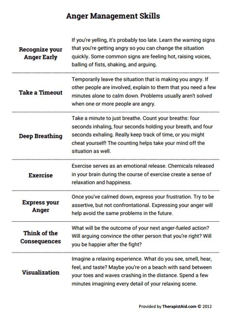 anger management skills worksheet therapist aid anger management for techniques and activities