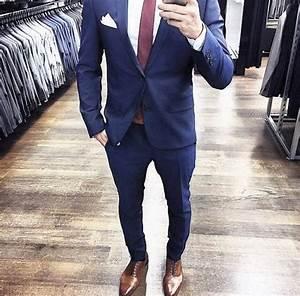 blauer anzug braune schuhe